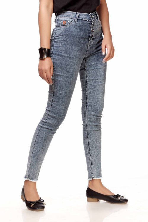 High Rise Stone Washed Jeans