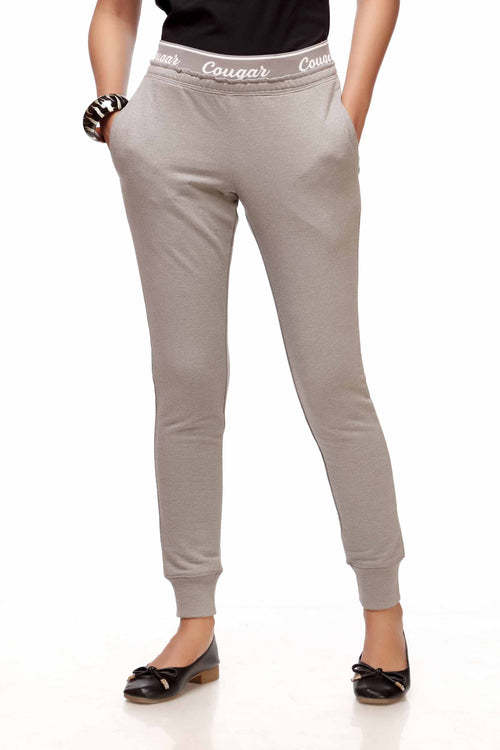 Grey Joggers With Logo Waist Band