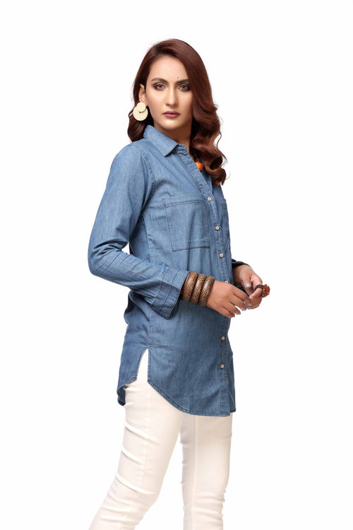 Denim Long Length Top