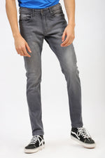 Carrot Fit Grey Faded Jeans