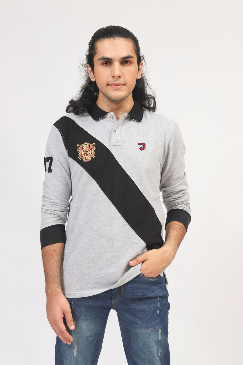 Grey & Black Diagonal Polo