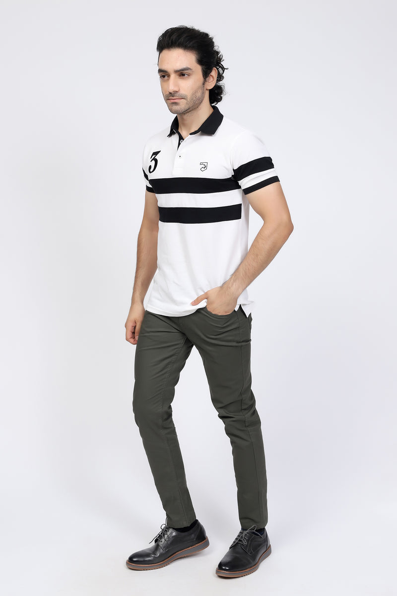 Black Striped White Polo