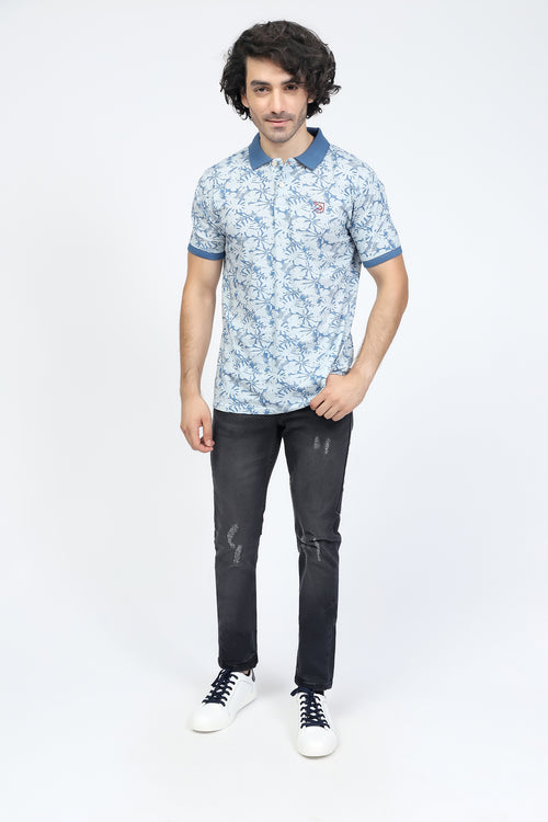 Blue All-Over Printed Polo