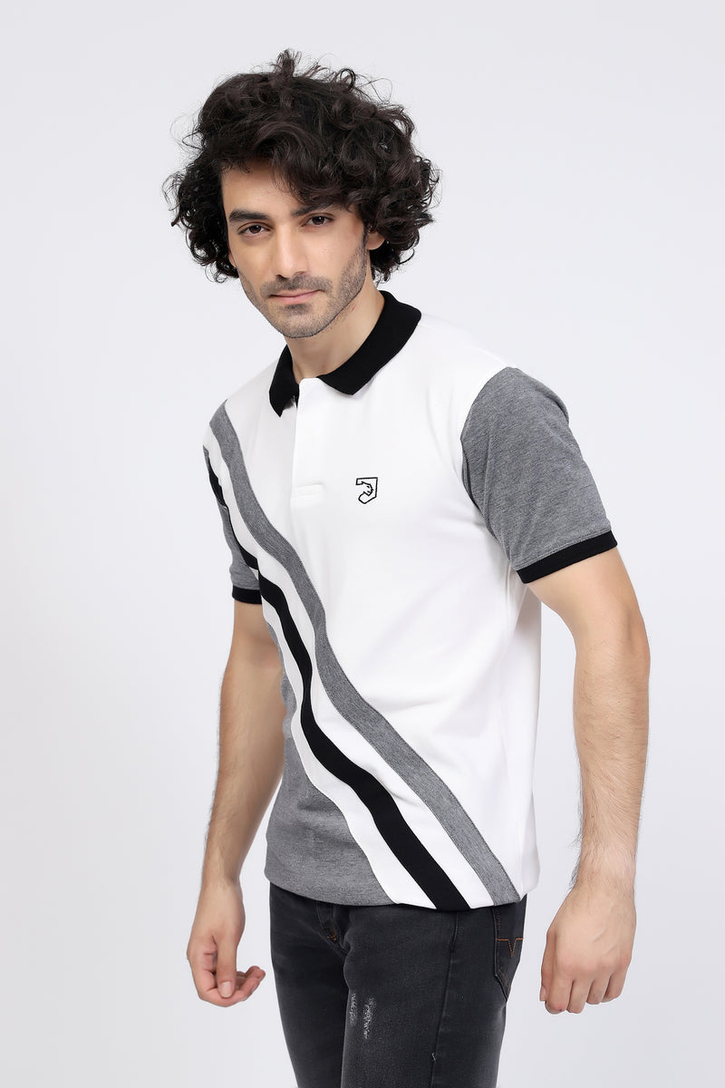 Grey & Black Stripe Polo