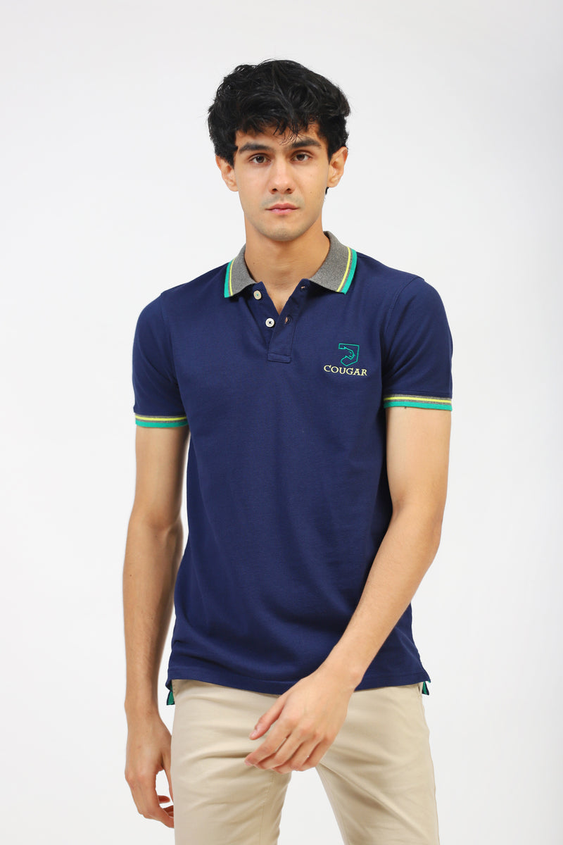 Navy Polo With Striped Collar & Rib