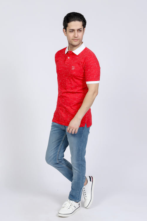 Red Textured Polo