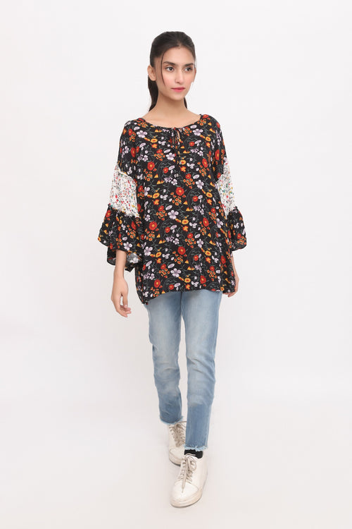 Black Floral Flared Sleeves Top