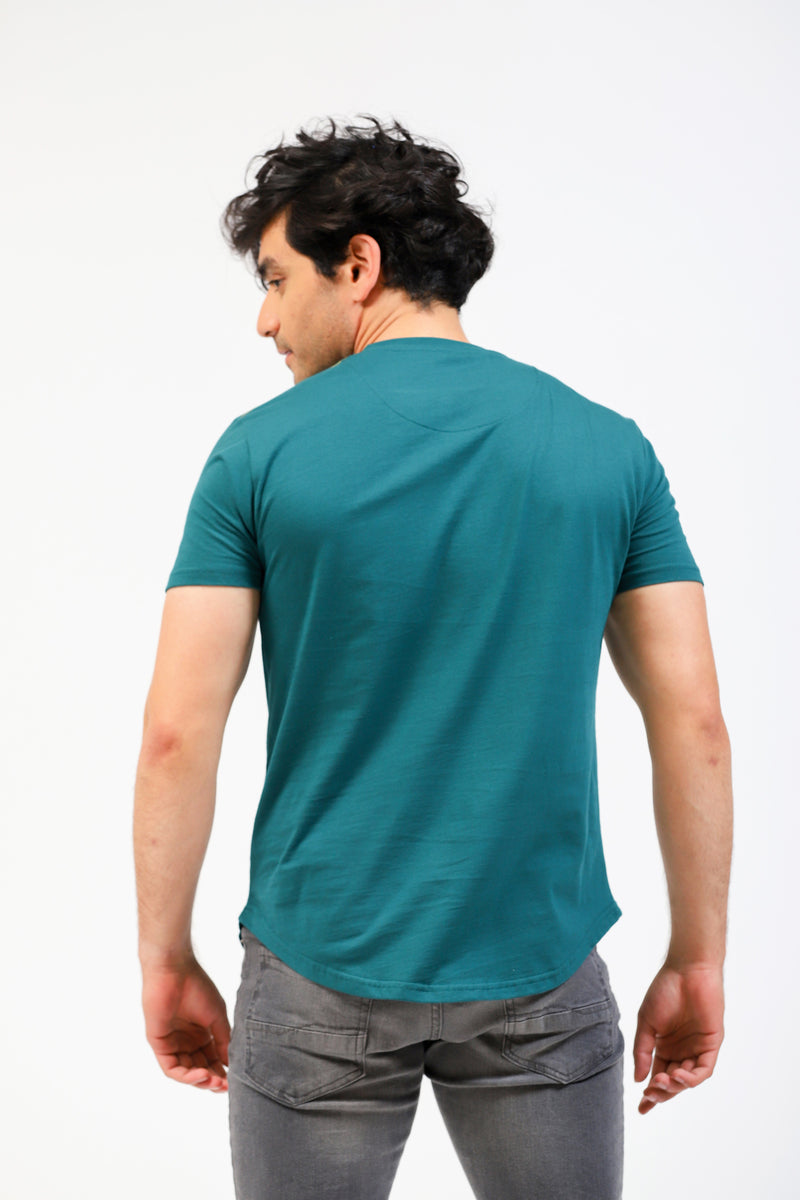 Teal Tee With Contrast Stitched Logo