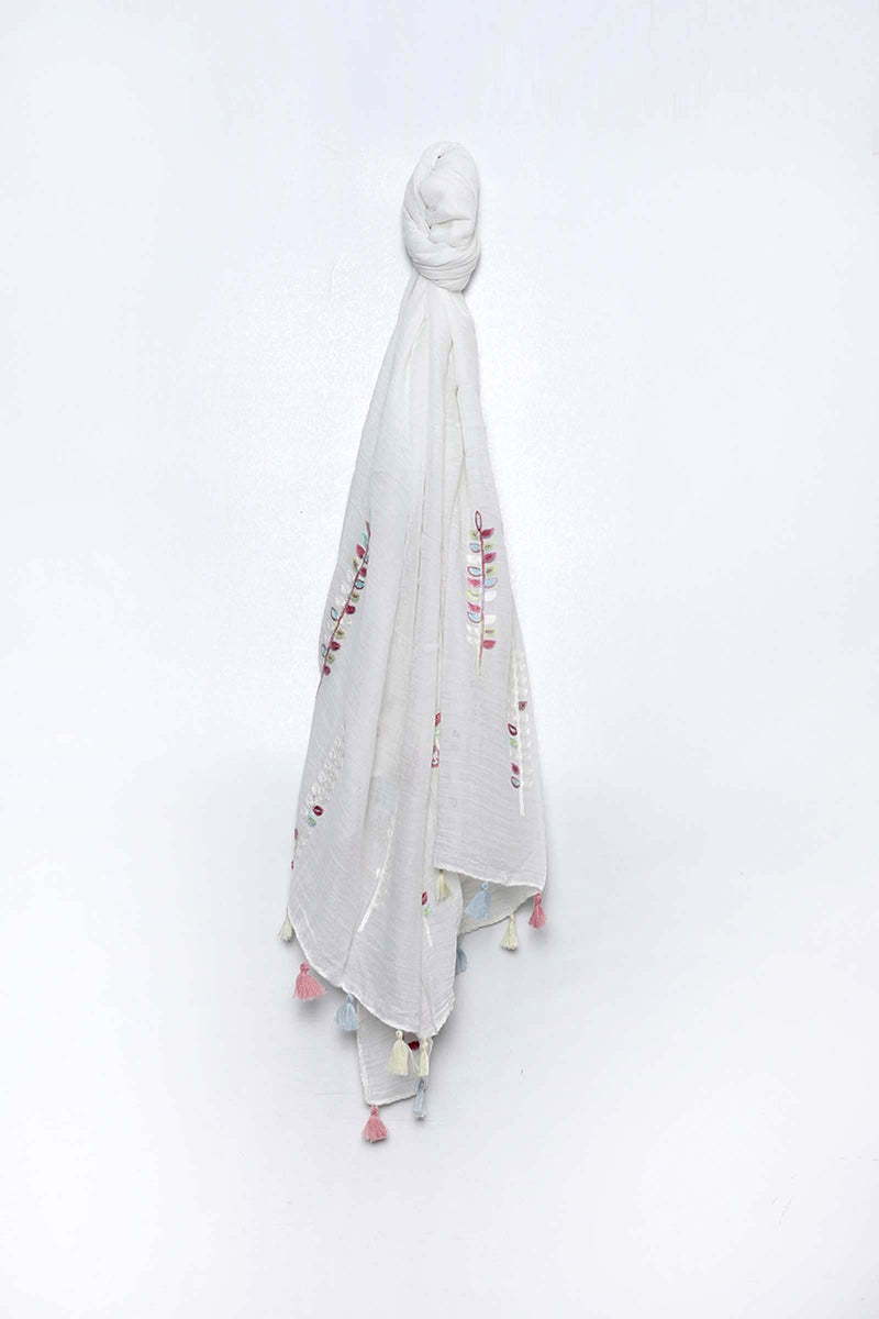 Embroidered White Scarf