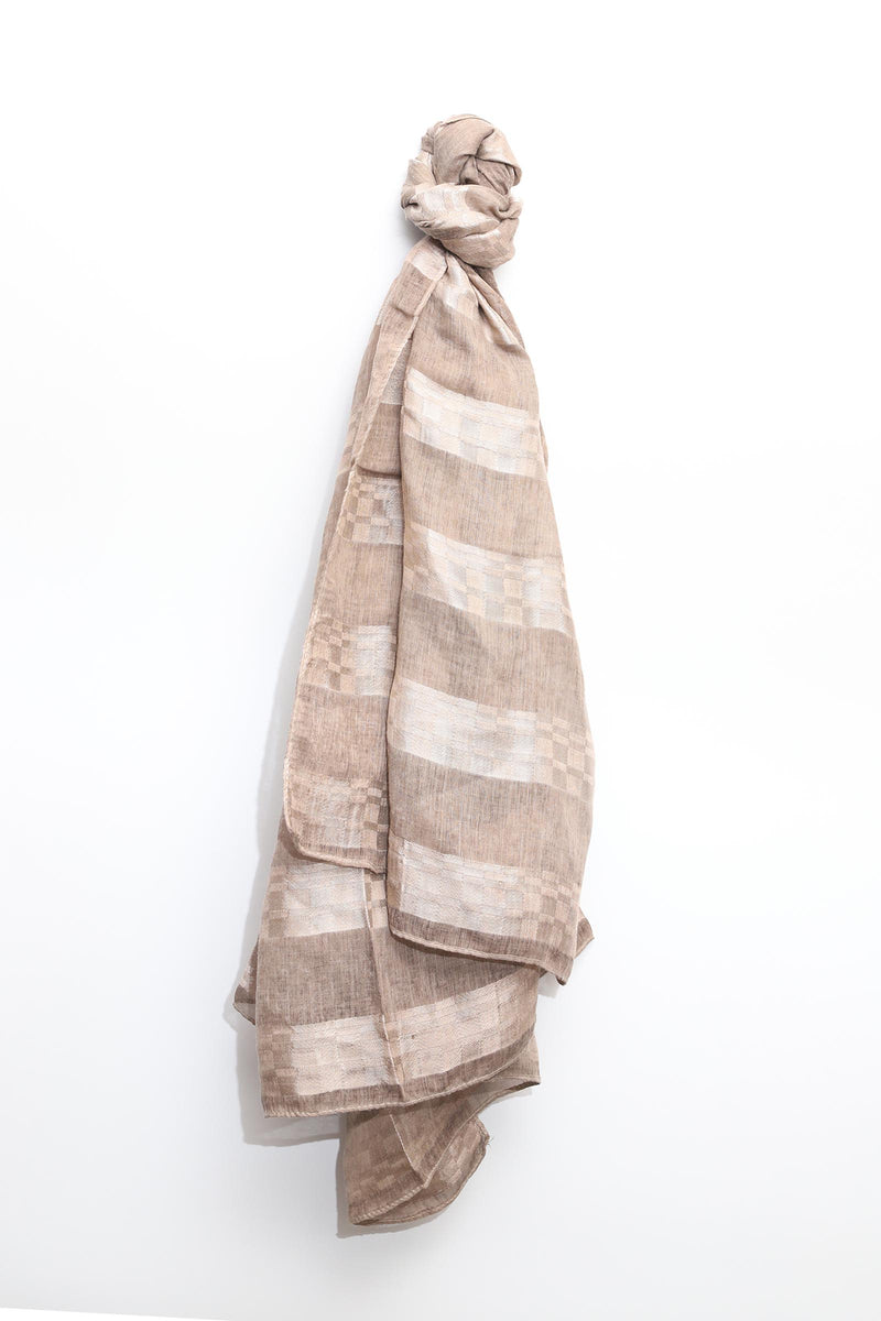 Chiffon Scarf with Silk Stripes