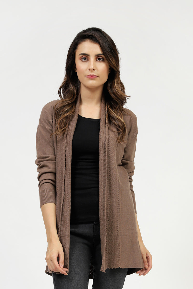Brown Sweater With Textured Front Panel