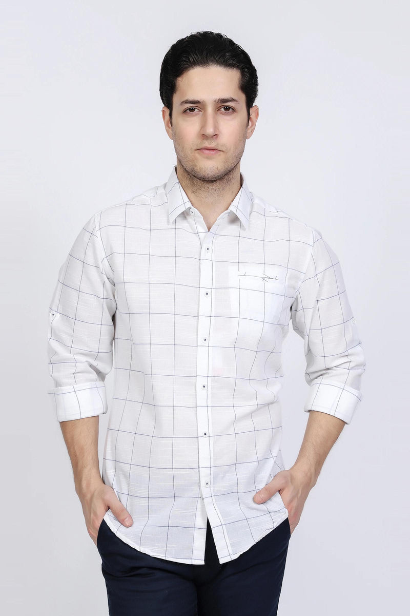 White Check Casual Shirt
