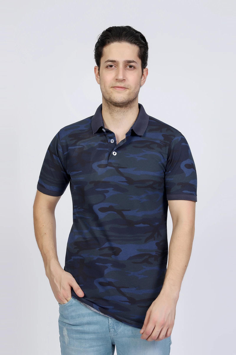 Blue Camouflage Polo