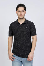 Black Textured Polo