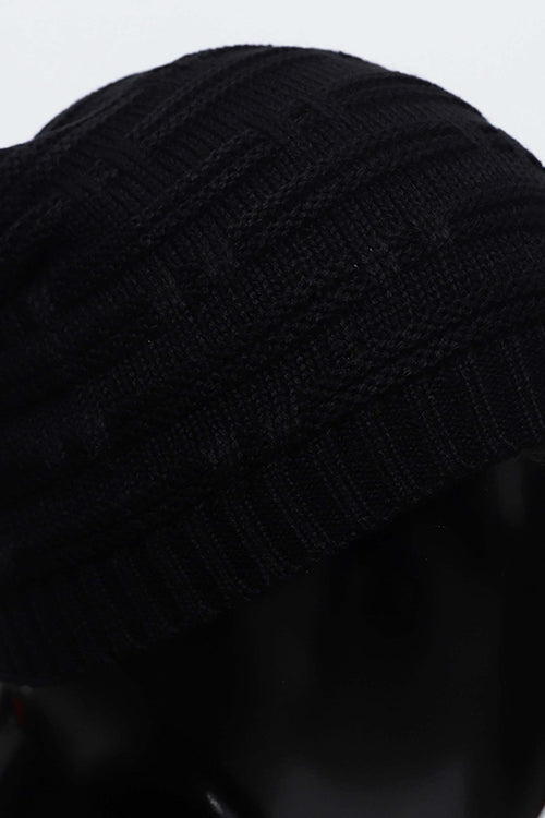 Black Striped Beanie