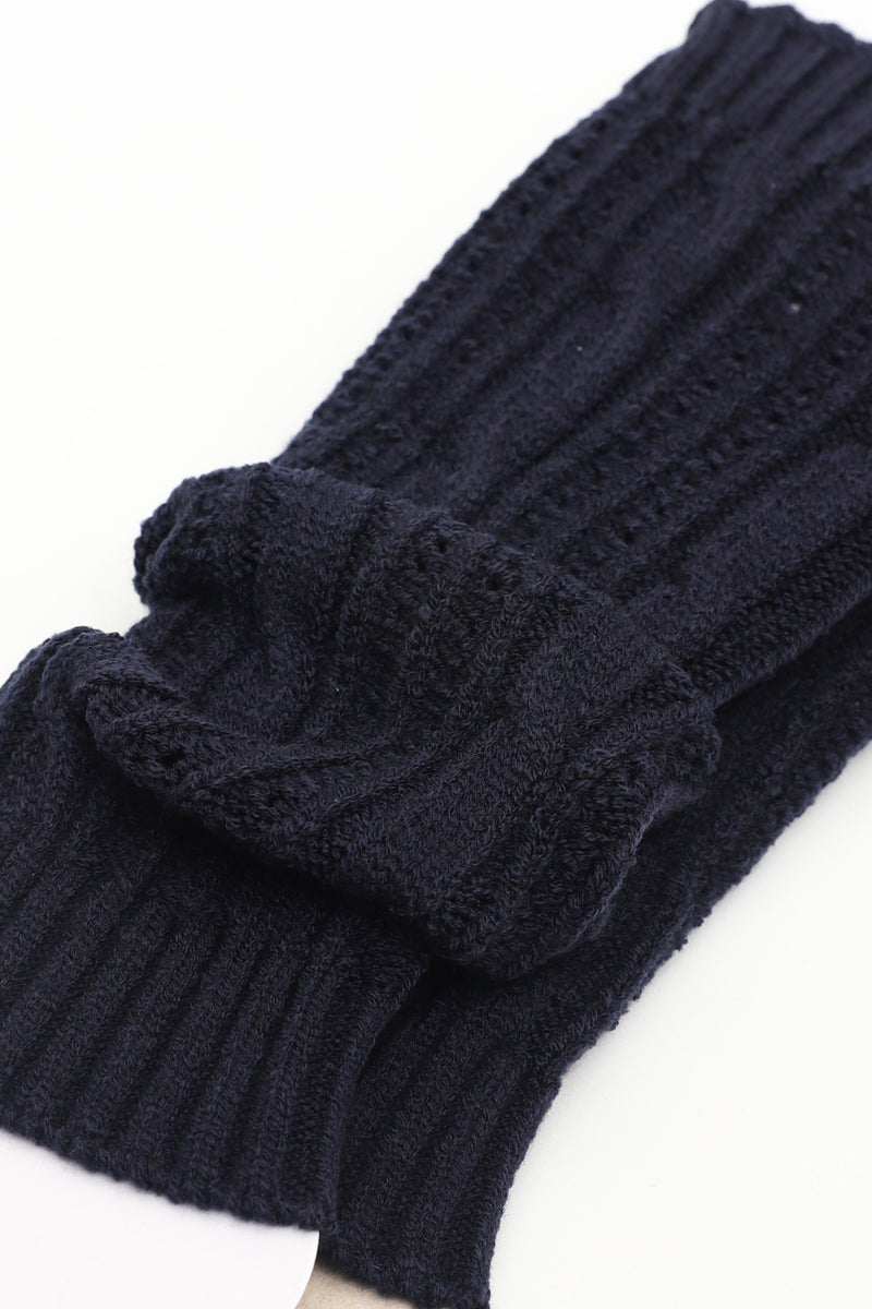 Navy Leg Warmer With Cable Striped