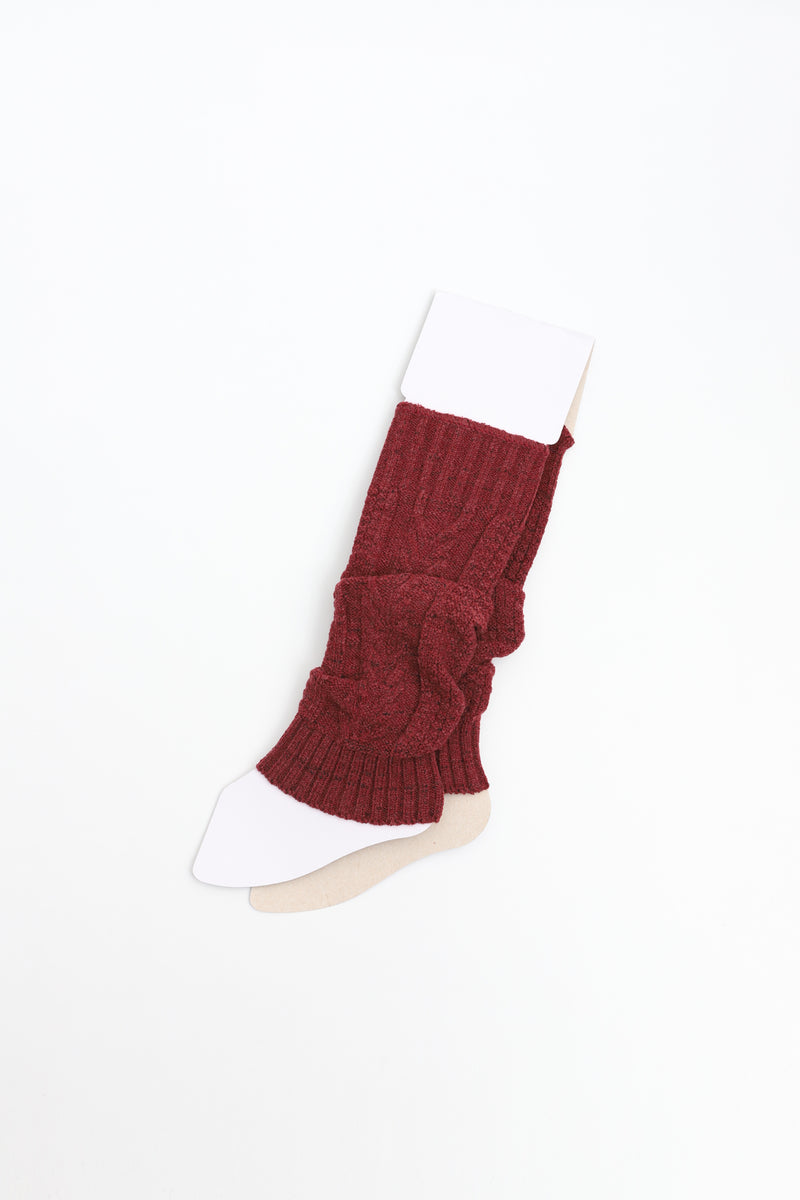 Red V-Cable Knit Leg Warmer