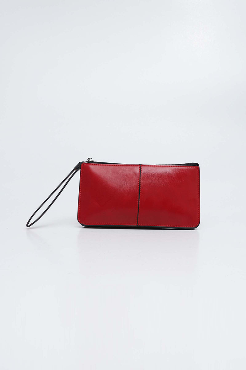 Red Zipper Clutch