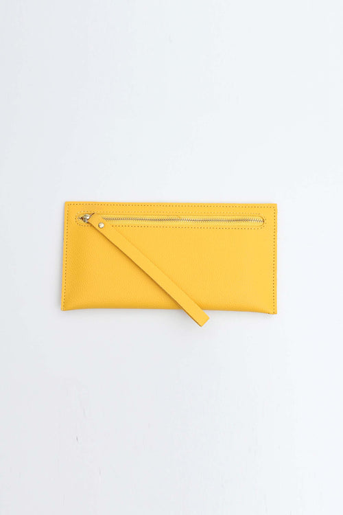 Yellow Wallet With Back Zip Pocket