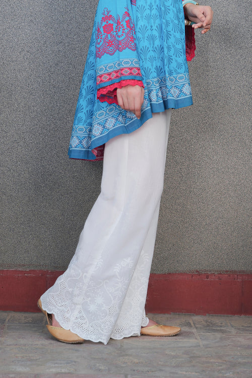 Embroidered White Bell-bottoms
