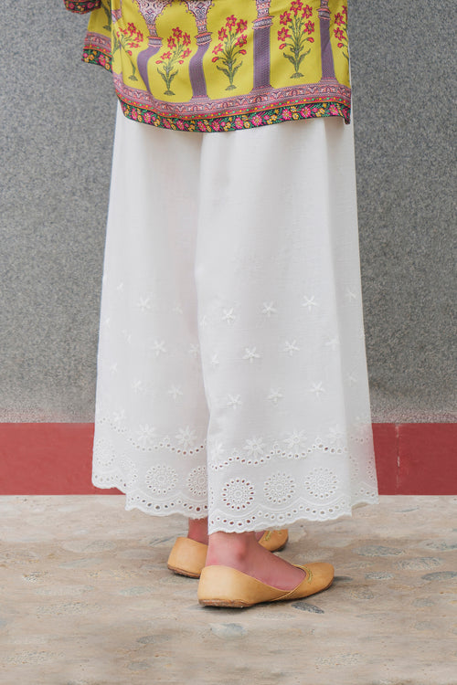 Embroidered White Culotte