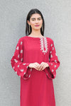 Embroidered Red Kurti