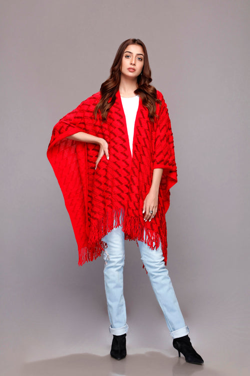 Inferno Red Cape Shawl