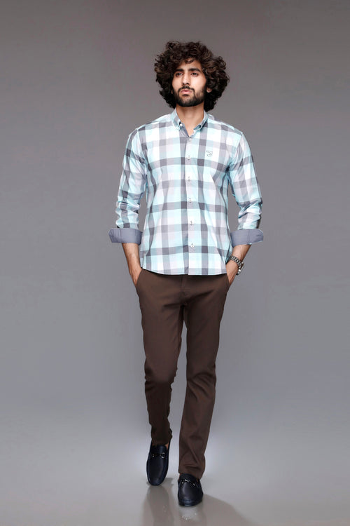 Sea Blue Checked Shirt