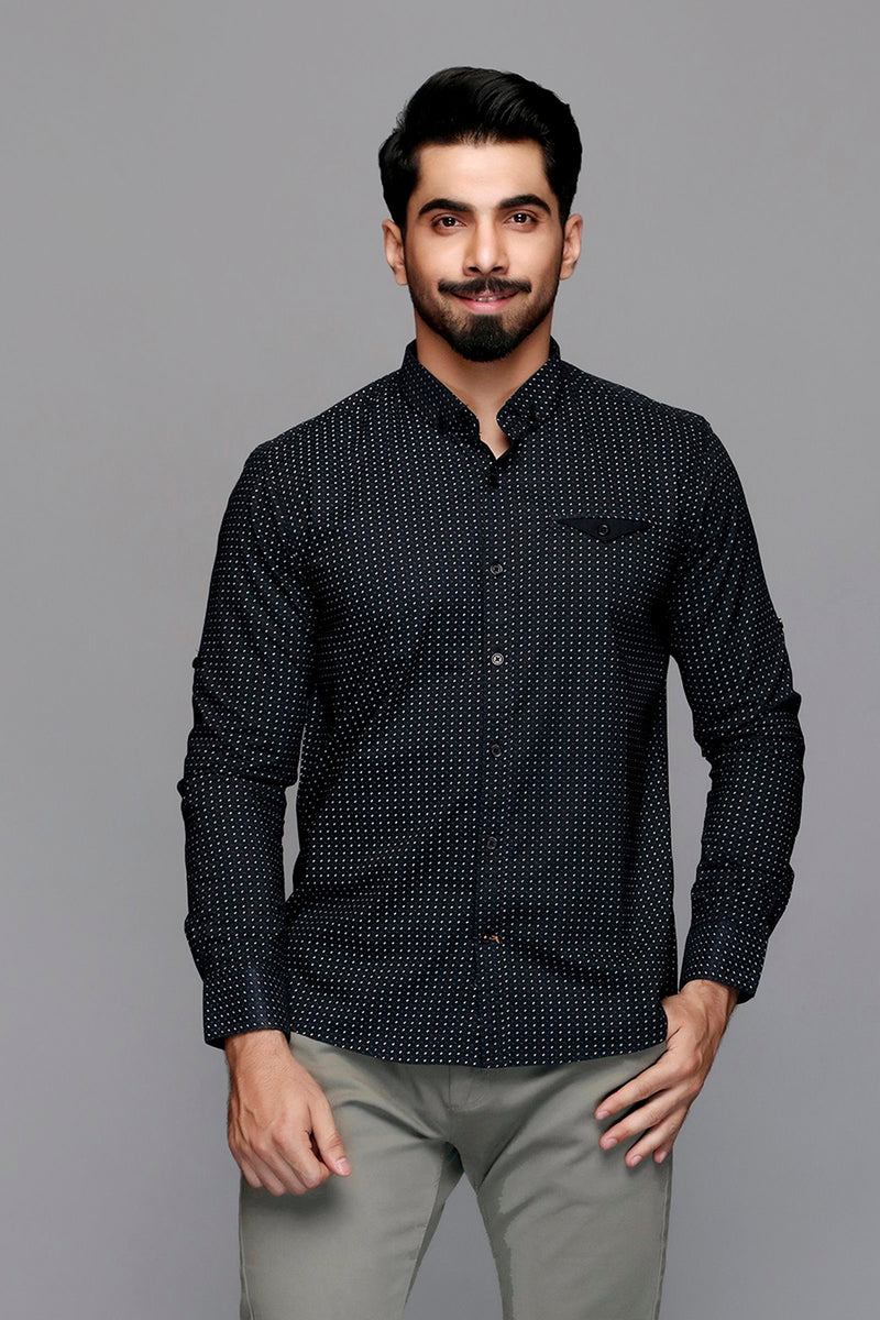 Black Micro Printed Casual Shirt