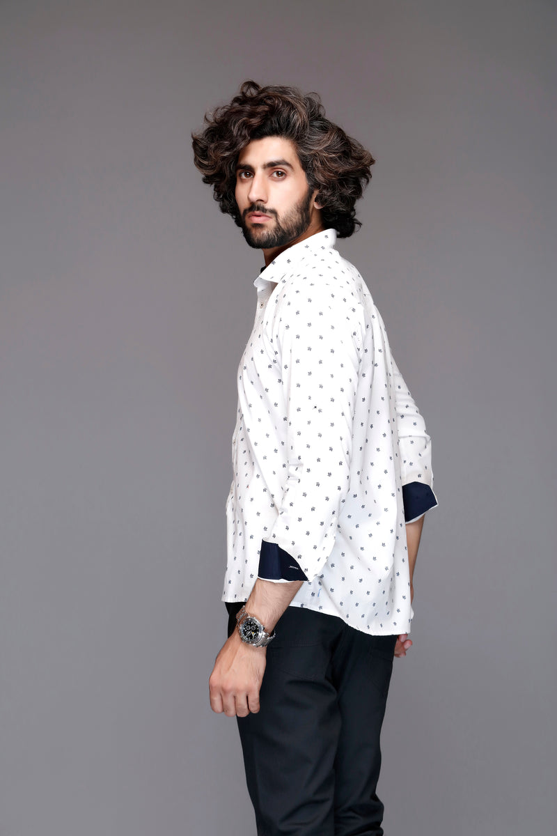 White Frond Casual Shirt