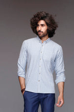 Blue Gimgham Casual Shirt
