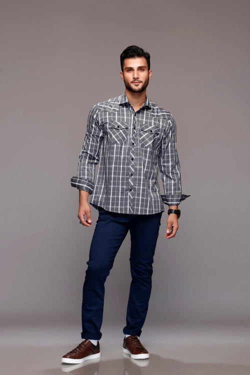 Steel Gray Checked Shirt