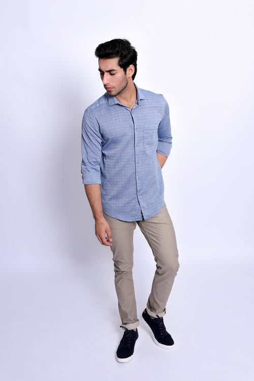 Grey Woven Check Shirt
