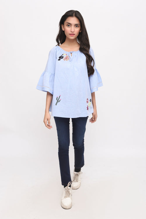 Oriental Denim Top