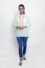 Cream Embroidered Top