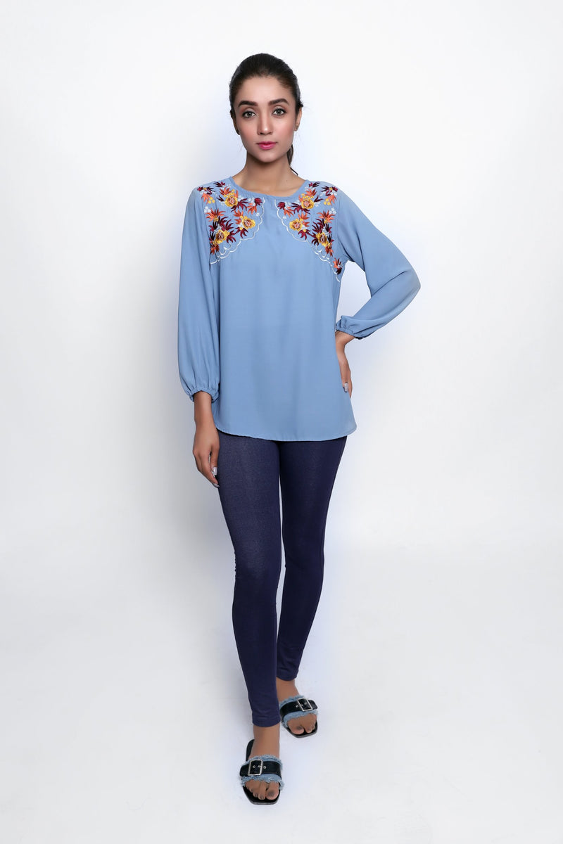 Blue Melange Top
