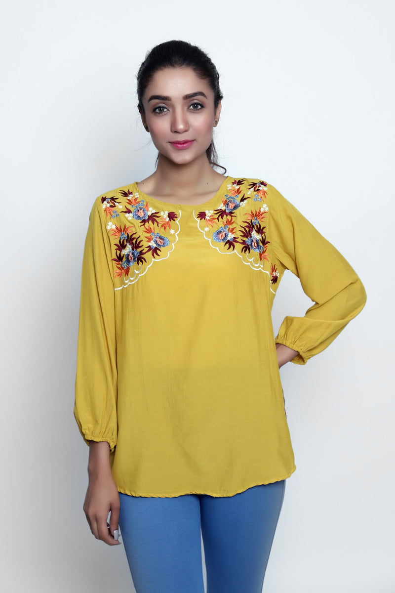 Dandelion Embroidered Top