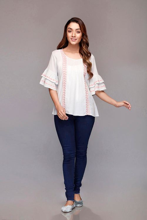 Front Pleats Embroidered Top