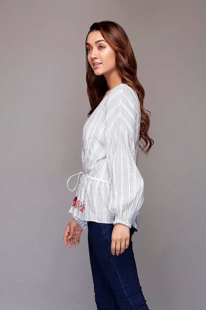 Grey Front Open Embroidered Top