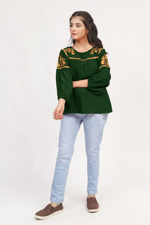 Green Ethnic Embroidered Top