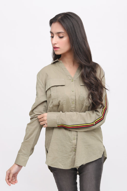 Green Front Button Shirt with Strips on Slevees