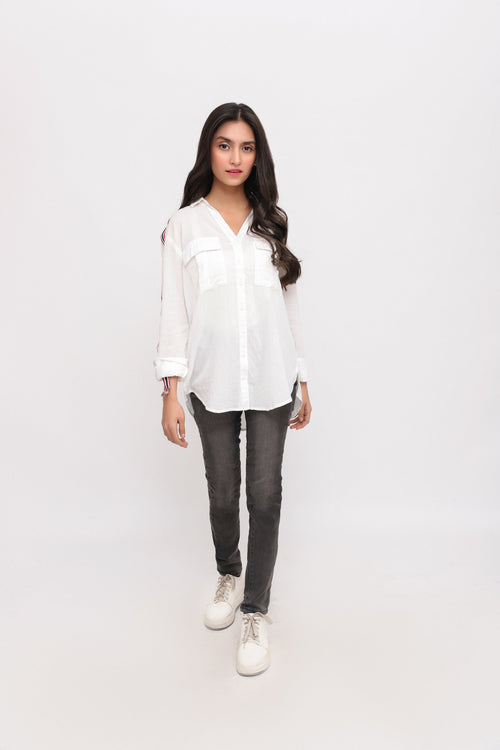White Front Button Shirt with Strips on Slevees