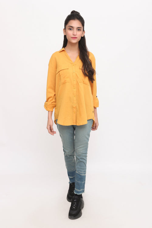 Yellow Buttoned Shirt with Strips on Slevees