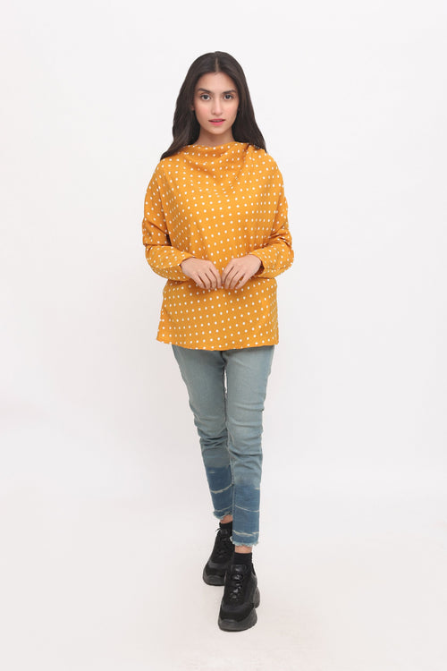 Mustard Flared Neckline Top