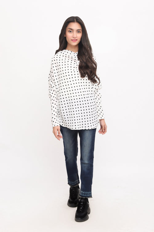 White Flared Neckline Top