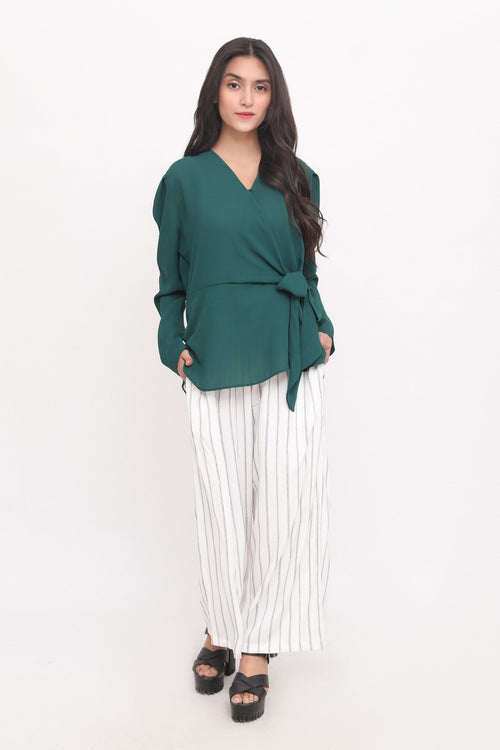 Green Bow Knot Top