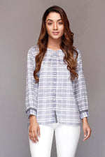 Blue Full Button Checked Top