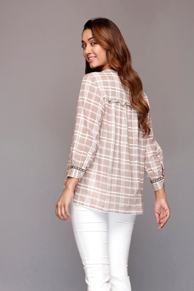 Brown Full Button Checked Top