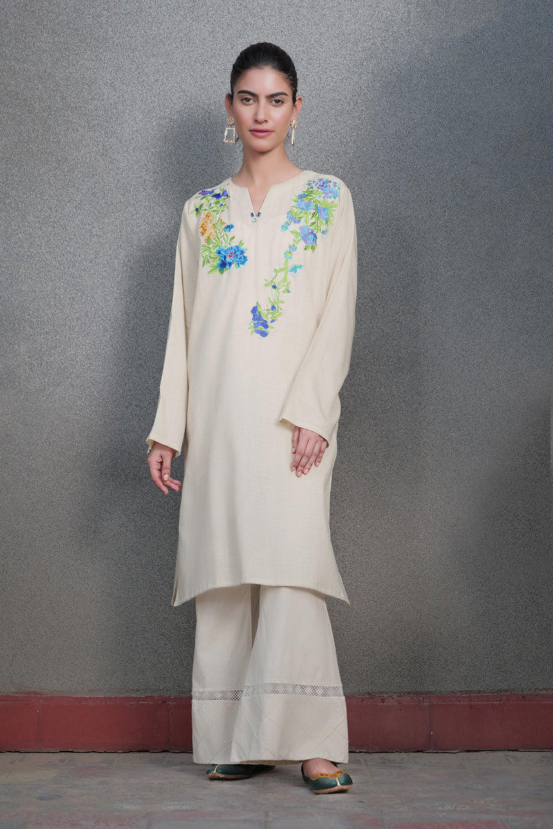 Beige Kurti with Turquoise Embroidery