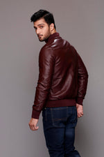 Maroon Faux Leather Jacket